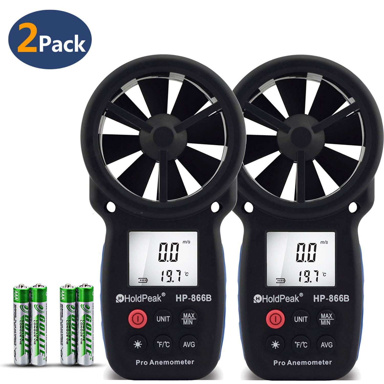 Holdpeak 2Pcs 866B Digital Anemometer Handheld LCD Wind Speed Meter Measuring Wind Speed, Temperature Wind Chill Backlight Max/Min Data
