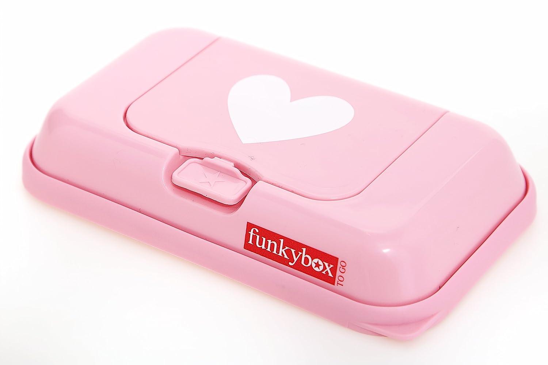 Funkybox - Pequeña cajita para toallitas húmedas - Rosa con corazón blanco FBTG06