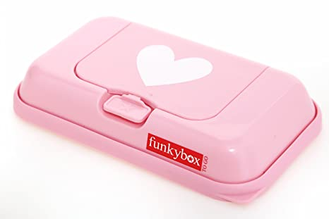 Funkybox - Pequeña cajita para toallitas húmedas - Rosa con corazón blanco