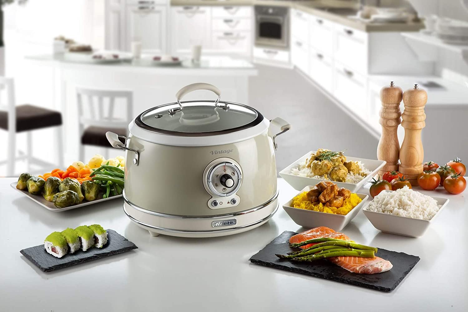 Beige Rice Cooker 3.5 L Vintage Line Steaming Ariete 2904 650 W Slow Cooker Non-stick Ceramic Coating