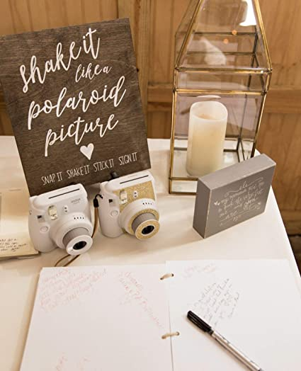 Polaroid Wedding Guest Book.Amazon Com Polaroid Guest Book Sign Rustic Wedding Signs Wooden