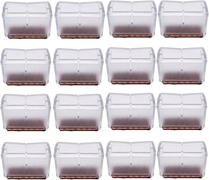 Antrader 16-Pack Silicon Rectangle Chair Leg Floor Protectors with Felt Pads Width 1 to 1-3//16 Blac Sofa Non-Slip Chair Glides Feet Caps Tips 3.9-4.8cm 2.4-3.1cm Length 1-9//16 to 1-13//16