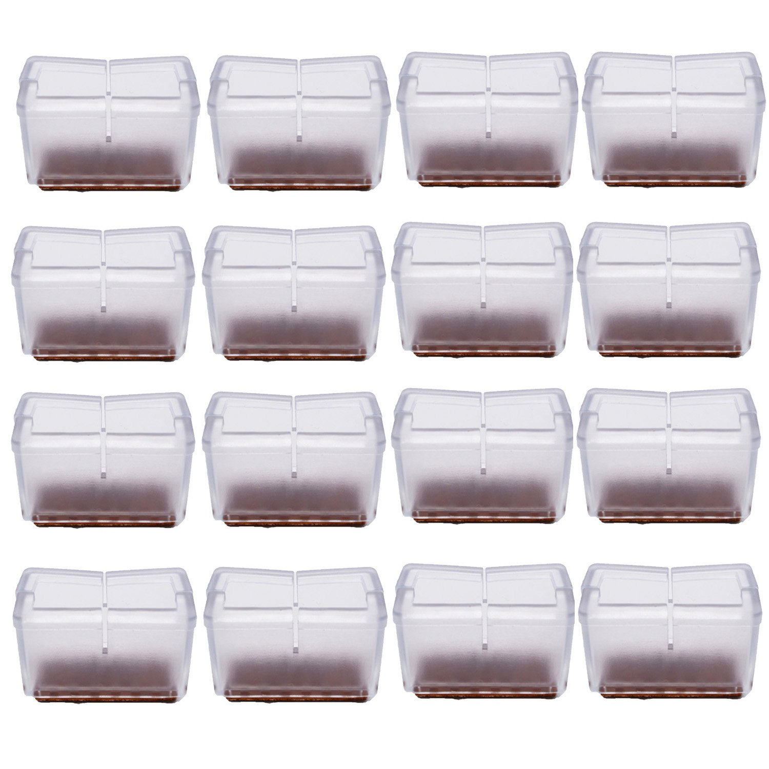 "Antrader 16pcs Silicon Rectangle Furniture Pads Floor Protector Sofa Non-Slip Chair Feet Pad Table Leg Cap with Felt Pads Length 1-9/16"" to 1-13/16"" (3.9-4.8cm),Width 1"" to 1-3/16"" (2.4-3.1cm) Clear"
