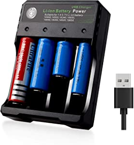 18650 Smart Battery Charger 4Bay, Universal Smart Rechargeable Battery Charger 4 Slot Fast Charging for Batteries Li-ion Batteries (New 4Bay not Batteries)