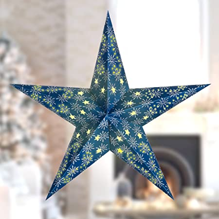 Hanging Paper Star Lantern Lampshade Wedding Christmas Party Decoration Navy Blue