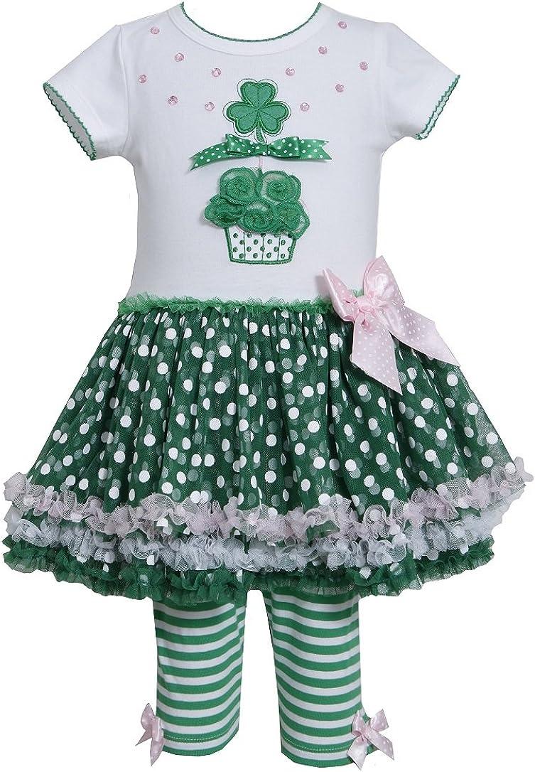 Bonnie Jean Girls St. Patrick Mesh Dress Outfit w Leggings, Green, 12M 24M