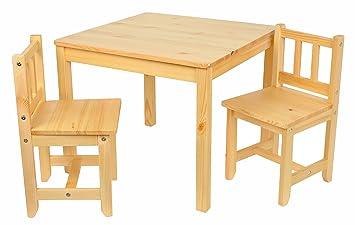 Kindermöbel holz  Kinder Sitzgruppe Holz Natur mit Kindertisch 60x60 cm und 2 ...