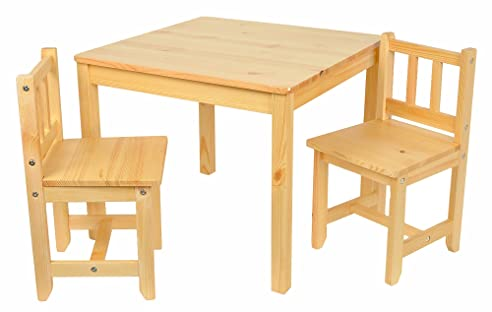 Kindertisch holz  ts-ideen Kinder Sitzgruppe Holz Natur mit Kindertisch 60 x 60 cm ...
