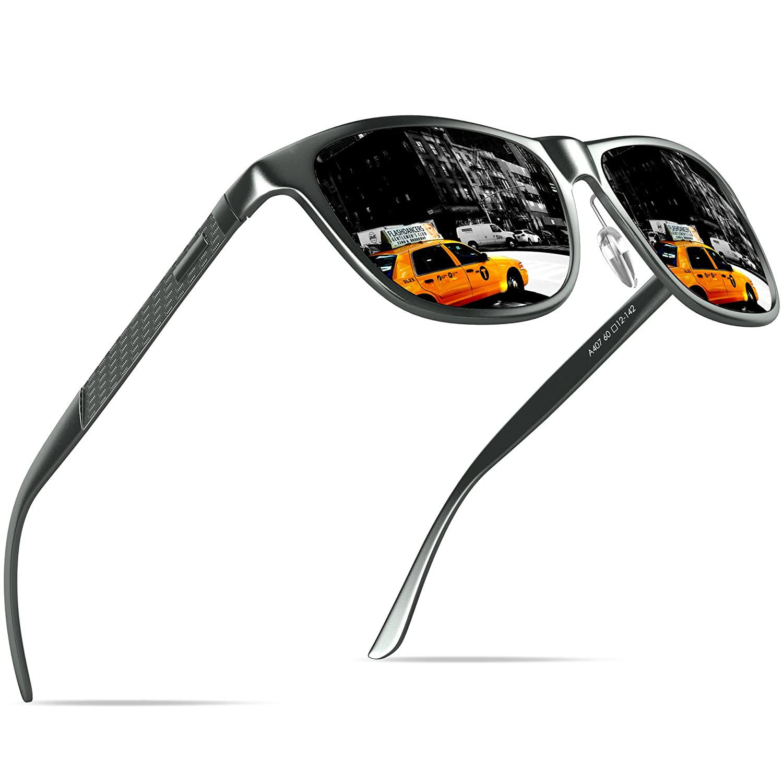 KITHDIA Uomo Occhiali da sole polarizzati Al-Mg Metallo Cornice Super Light AI407-3