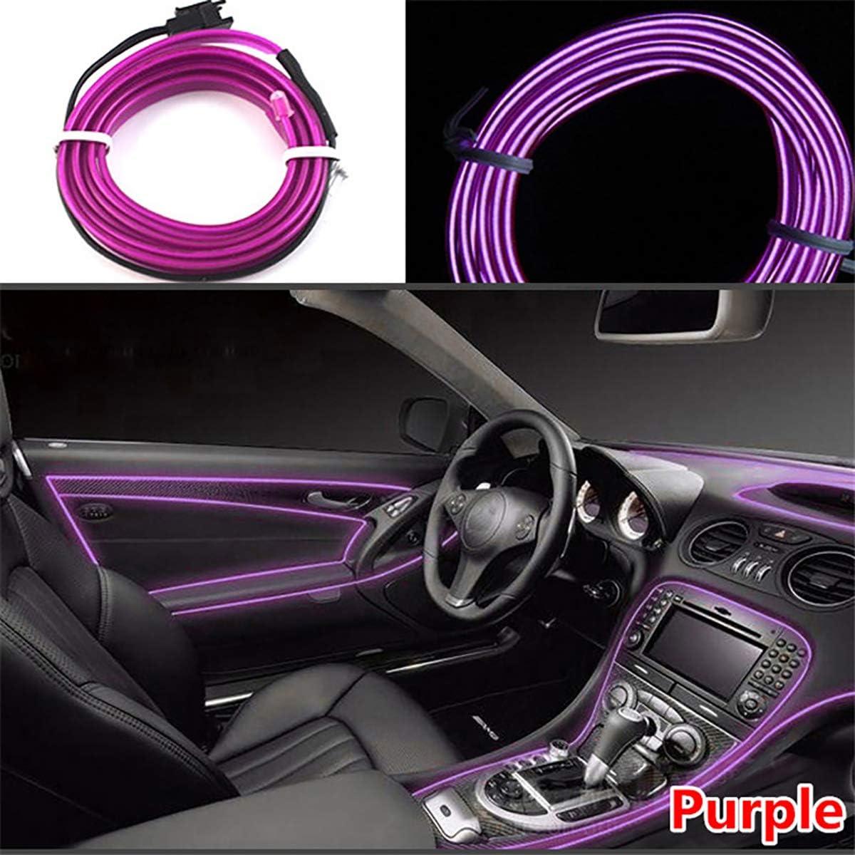 Vilihy 5 Meters Car Interior Lighting Auto LED Strip EL Wire Rope Auto Atmosphere Decorative Lamp Flexible Neon Light DIY
