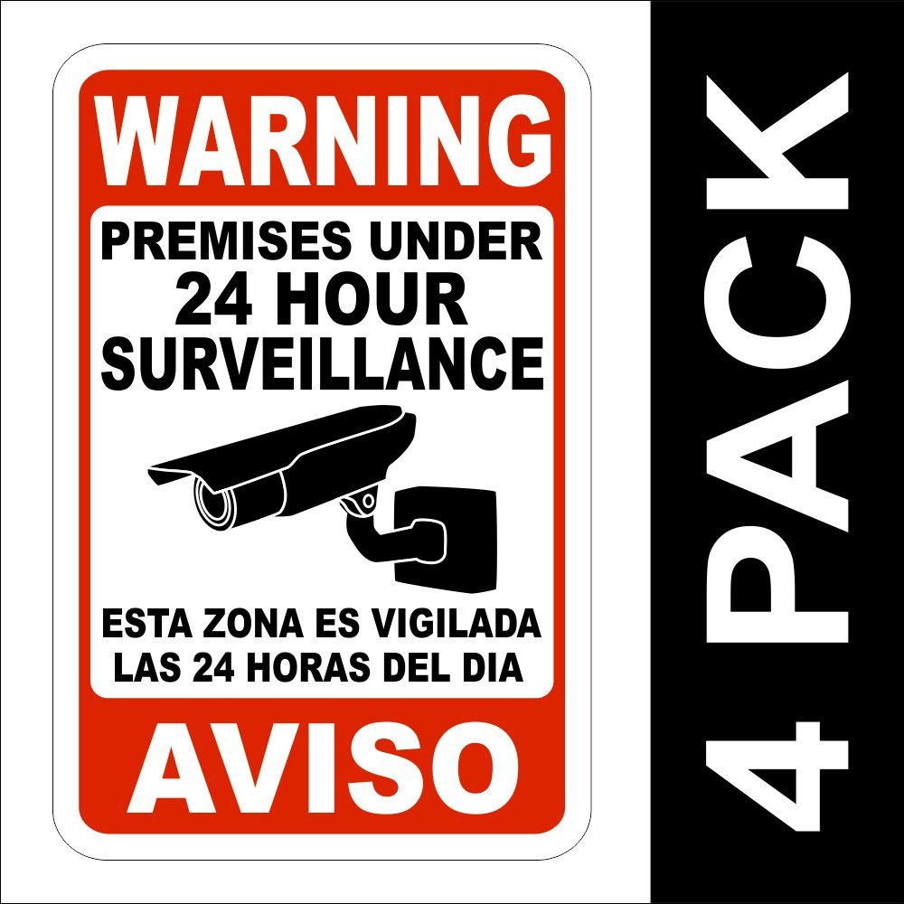 Amazon.com: Seguridad advertencia 24 horas de vigilancia de ...