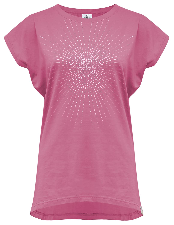 Yogistar Yoga-t-Shirt Batwing Sunray Rosewine//Silver