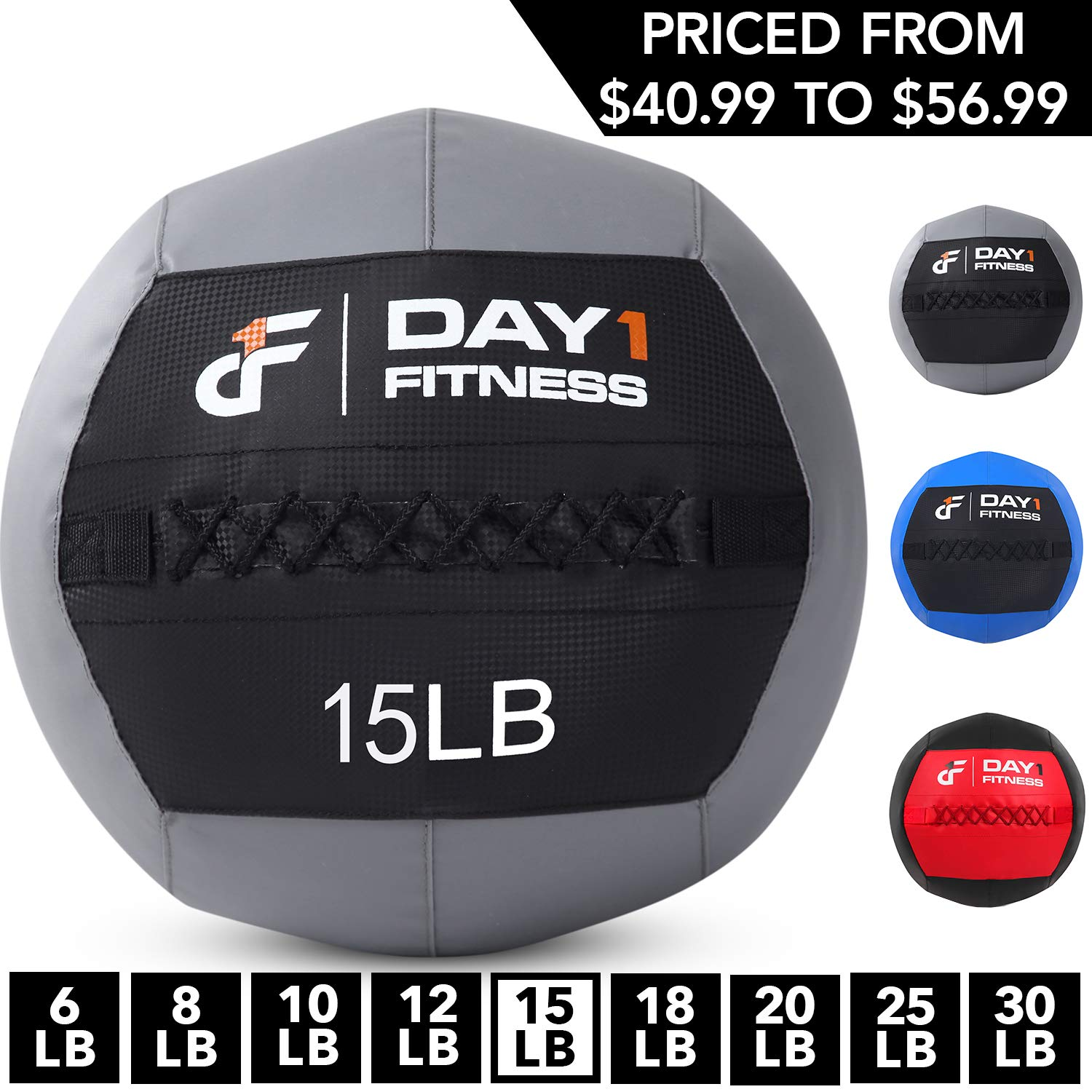 Day 1 Fitness Soft Wall Medicine Ball 25 Pounds