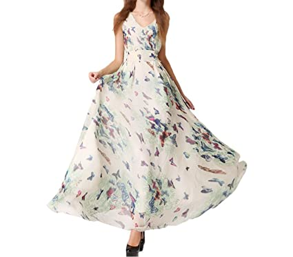 Collager Women&-39-s Butterfly Print Long Dress Print Chiffon Bohemian ...