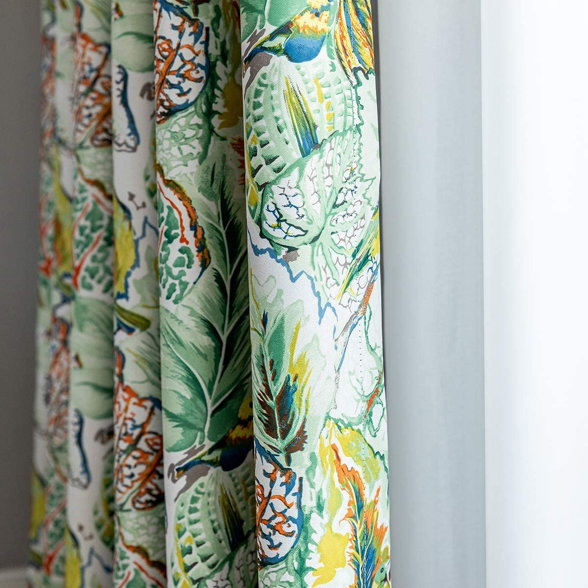 VOGOL Watercolor Living Room Curtains, Colorful Birds and Tropical Leaf Print Thermal Insulated Grommet Blackout Curtains for Dining Room, 2 Panels, W60XL106