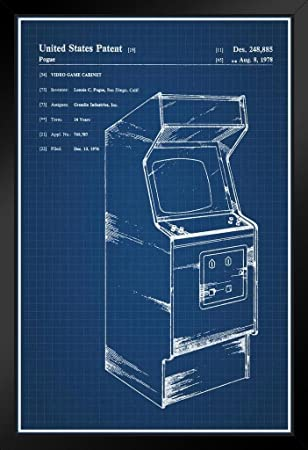 Amazon proframes retro arcade video game cabinet official proframes retro arcade video game cabinet official patent blueprint framed poster 12x18 malvernweather Images
