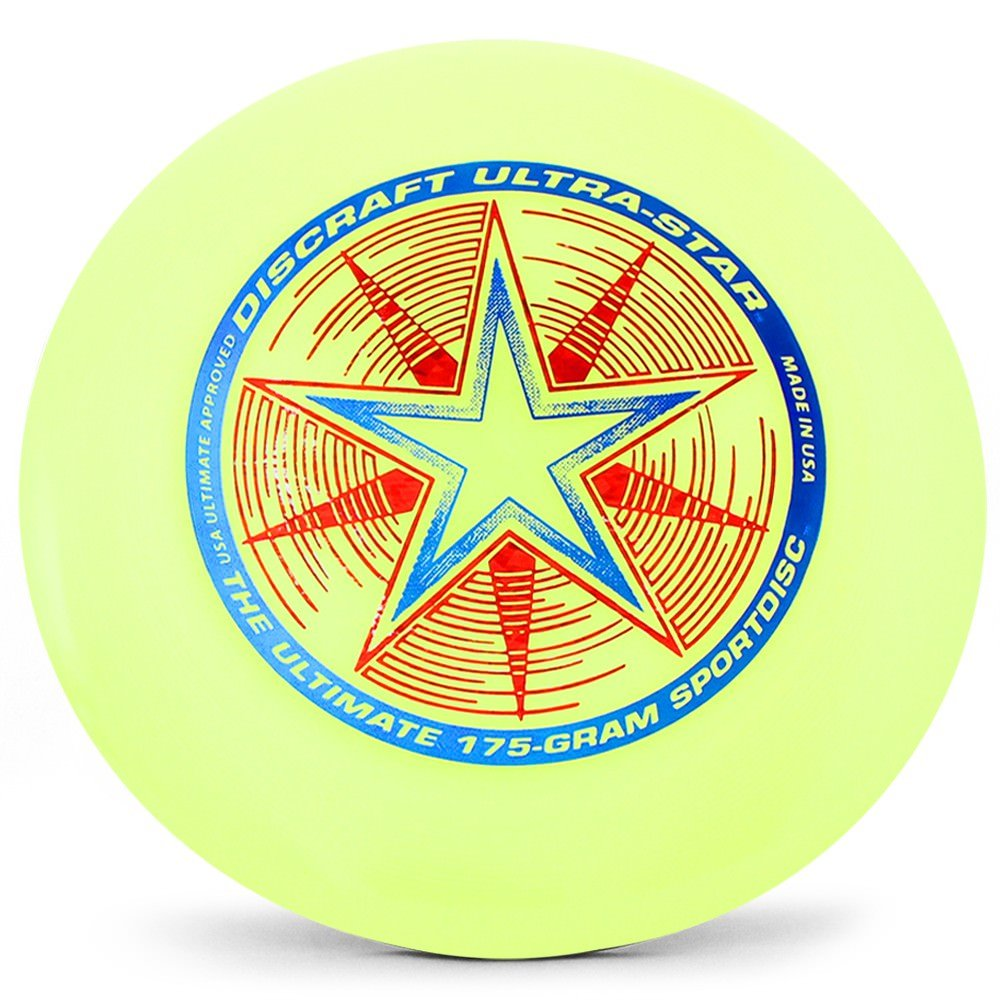 Discraft Ultra-Star 175g Ultimate Disc + Free Mini Frisbee + Ultimate Disc Sticker (USA Ultimate Approved) - Yellow by Disc Store