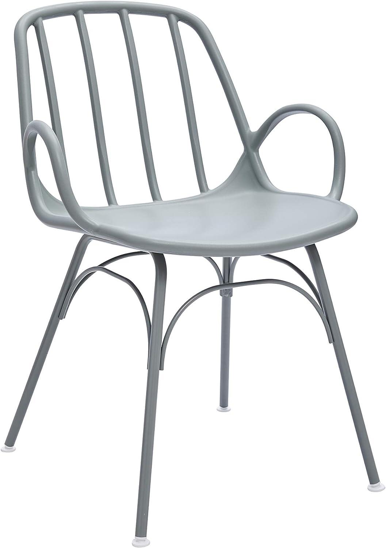 "Amazon Brand - Rivet Nova Modern Slatted-Back Plastic Dining Chair, 21.6""W, Moss Gray"