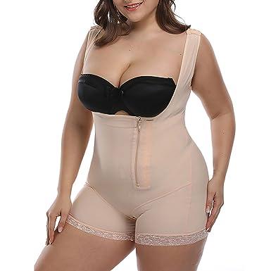 65c5b30aa8 TOPMELON Women s Plus Size Lace Open Bust Shapewear Bodysuit Seamless Firm  Control Butt Lift Full Body