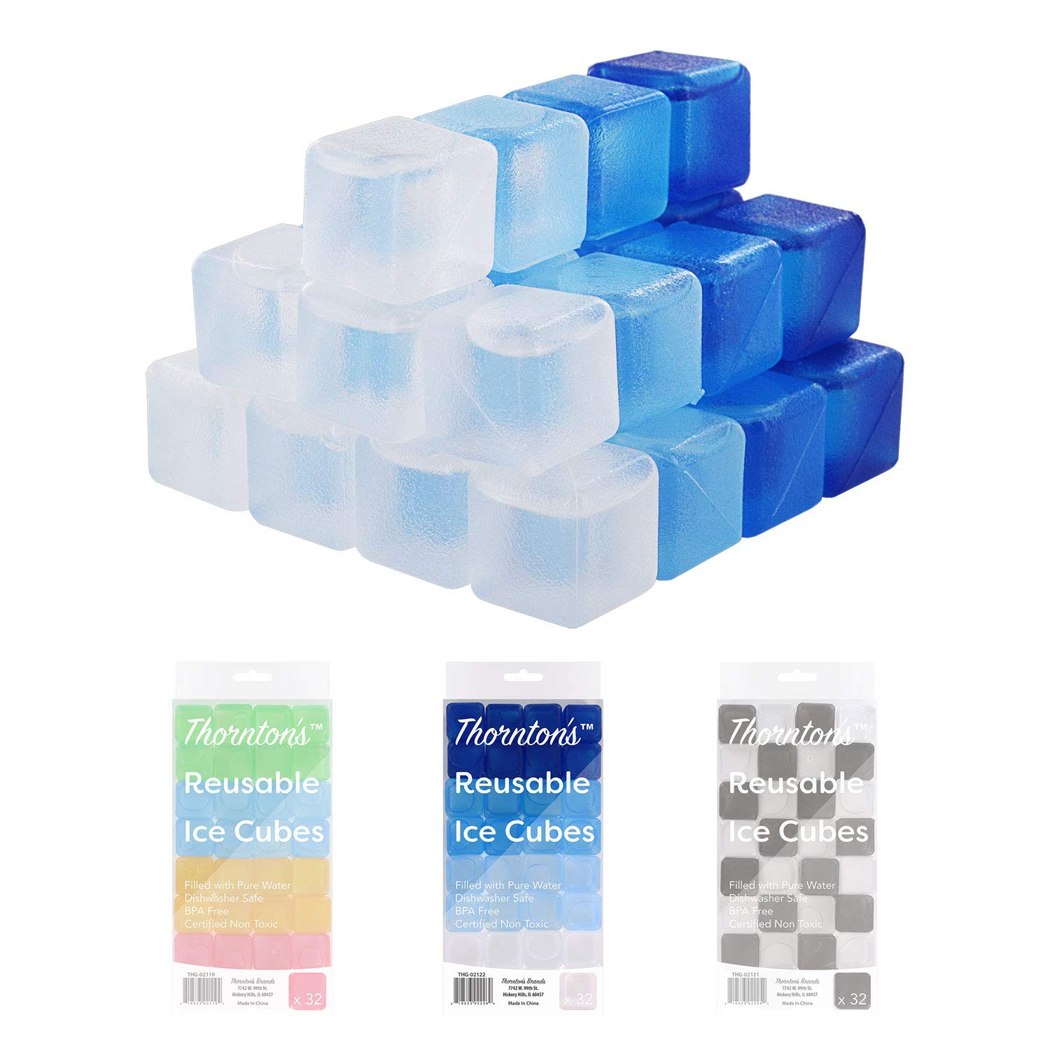 Fun Colours, 32-Count Thorntons Reusable Plastic Ice Cubes