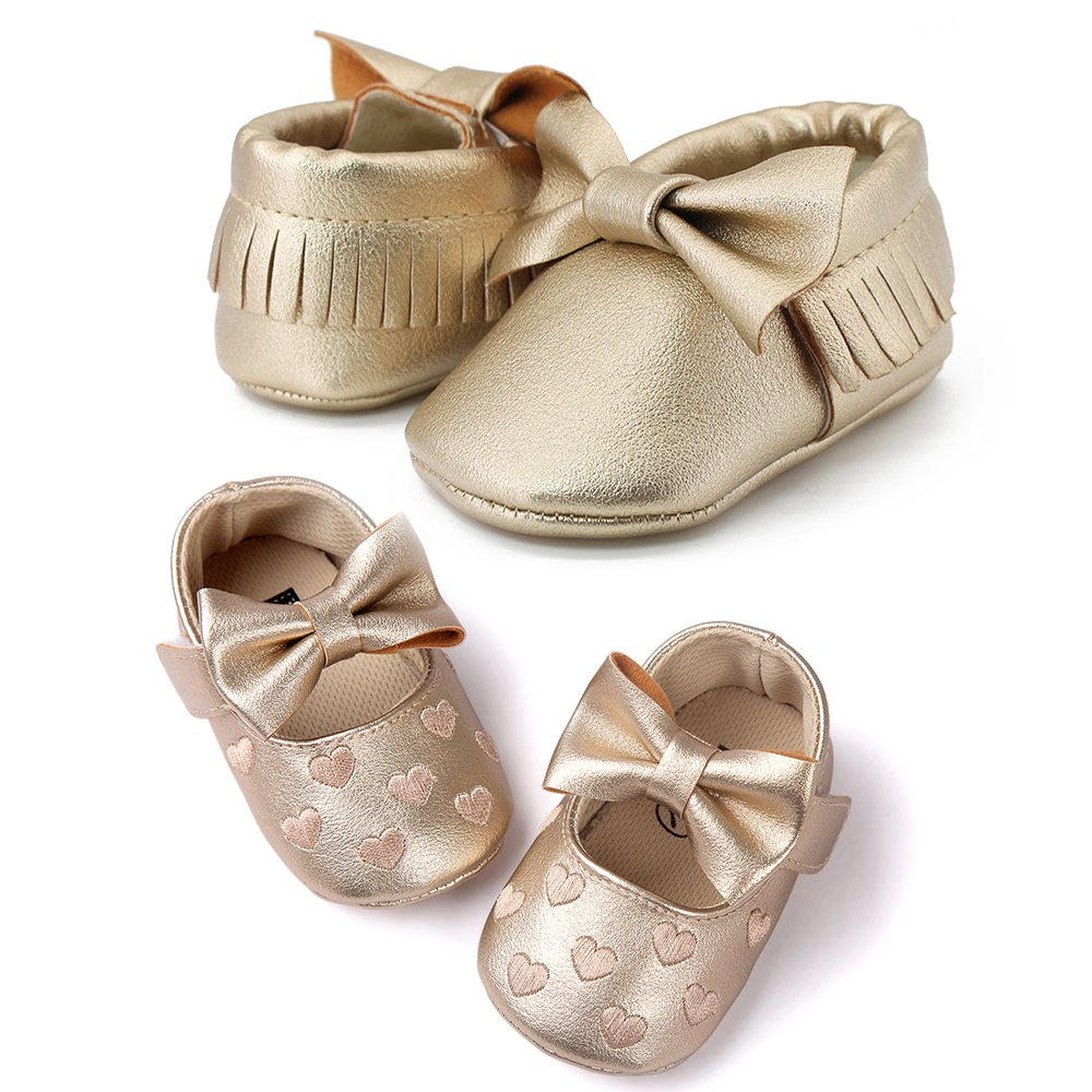 OOSAKU Infant Toddler Baby Soft Sole PU Leather Bowknots Shoes (12-18 Months, Gold+Gold A) by OOSAKU (Image #3)