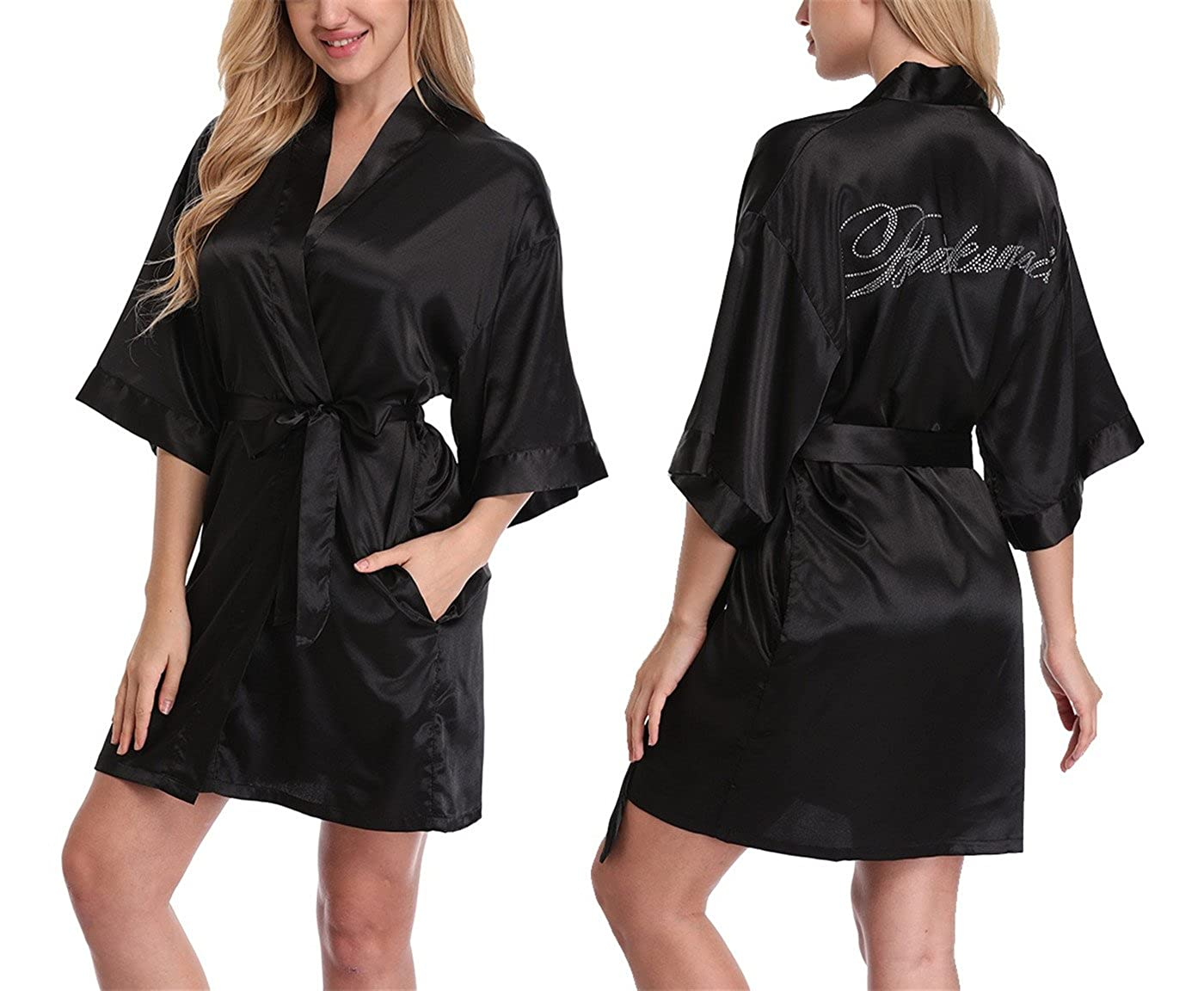 164d30f2b8 Top1  FADSHOW Bridal Robes Wedding Dressing Gowns with Rhinestones for Bride  and Bridesmaids