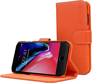 Snugg Legacy Leather Card Slot Flip Wallet Case for Apple iPhone 7 Plus - Orange