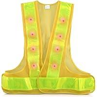 kwmobile Chaleco reflectante alta visibilidad - Chaleco de seguridad reflector amarillo con luz LED roja - Tiras…