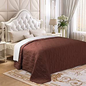 Lorient Home Brushed Microfiber Embroidered King Lightweight Quilt for Coverlet or Blanket Chocolate Bedding, Multi