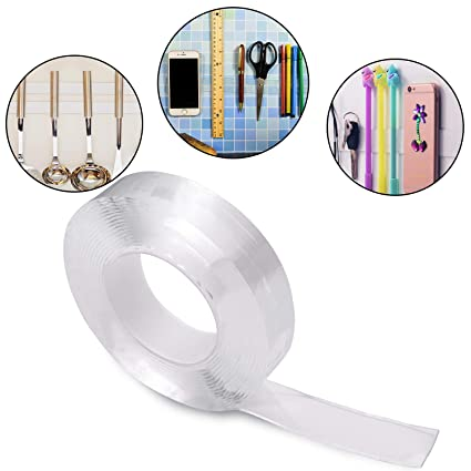 Waterproof Transparent Double-Sided Reusable No-Trace Removable Sticky Tape Clev