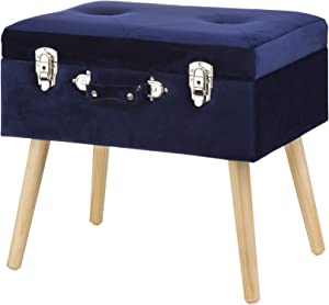 Glitzhome Velvet Foot Stool Seat Storage Footrest Stool Modern Dressing Upholstered Vanity Stool Padded Ottoman with Tufted Seat Wood Legs Decorative Accent Furniture Shoes Bench, Navy Blue