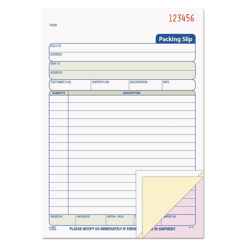 Tops 46639 Packing Slip Book, 5-1/2''x8-7/16, 3-Part, 50 Sets, BK