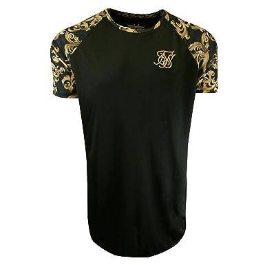 4325de54 Sik Silk Raglan Curved Hem T-Shirt Black & Gold Venetian-XL: Amazon ...