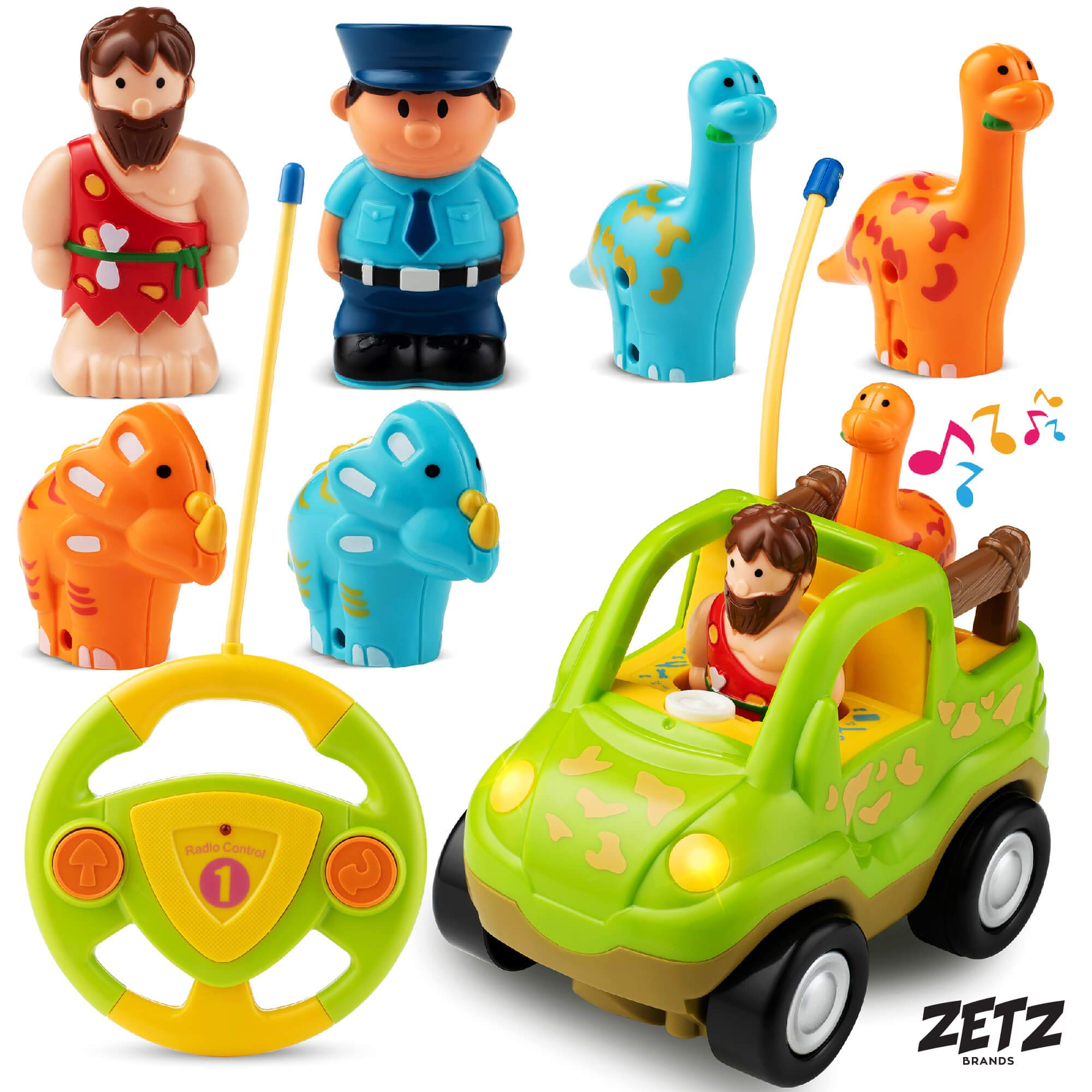 Remote Control Car Dino Toys Set - with Dinosaur Figures, Watchman & Caveman - Includes 4 Dinosaur Toys for 3 Year Olds & Up | RC Cars for Boys Learning Toys with Plastic Dinosaur for Kids by Zetz