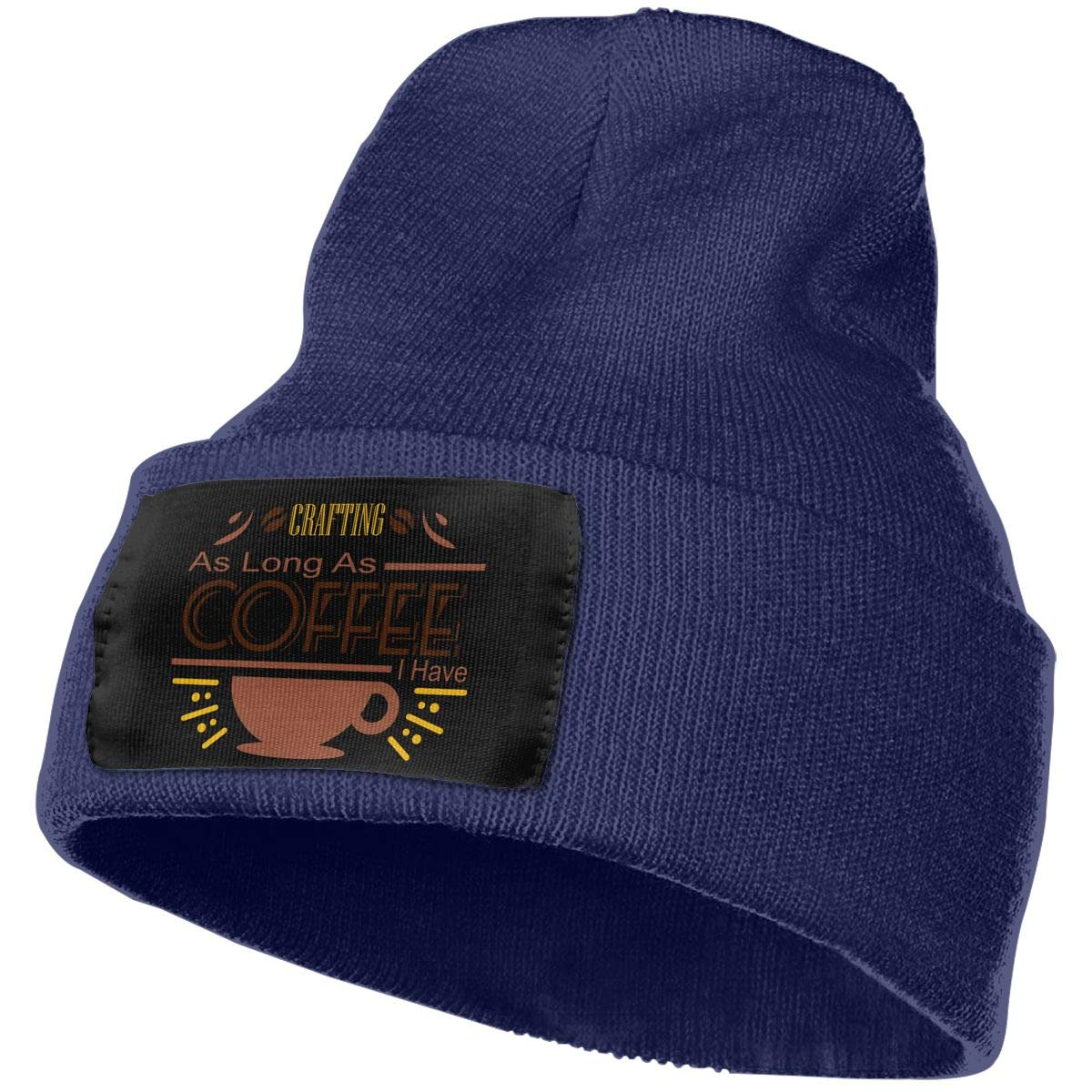 Crafting As Long As Coffee I Have Warm Winter Hat Knit Beanie Skull Cap Cuff Beanie Hat Winter Hats for Men /& Women