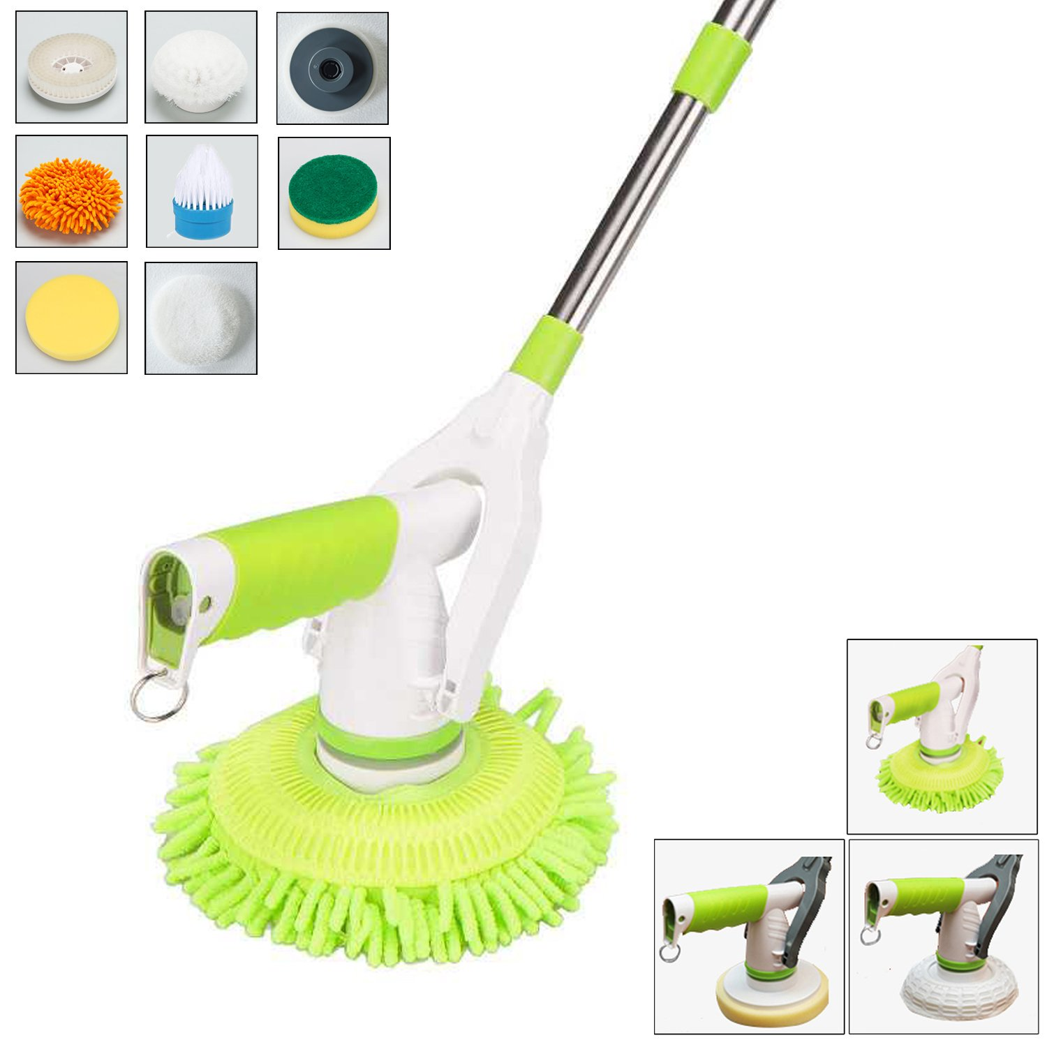 Avesfer Floor Scrubber Electric Spin Scrubber Cordles Floor Cleaner Household Rolling Spin Mop Cleaning Brush Mop Floor Polish Waxing with Extension Handle 8 Replaceable Heads for Bathroom Kitchen (1)