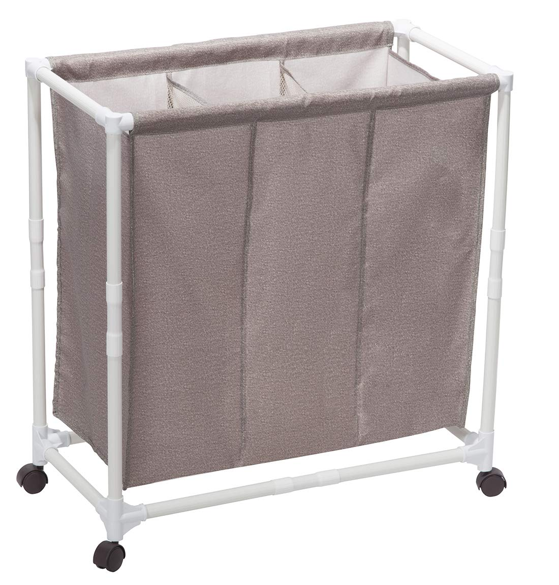 STORAGE MANIAC 3-Section Rolling Laundry Sorter Hamper with Lockable Wheels, Poartable Laundry Cart for Dorm/Apartment, Coffee STM1005000027