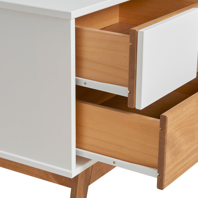 VS Venta-stock Table de Chevet 2 tiroirs Saona Anthracite Fabriqu/é en Bois de pin Massif