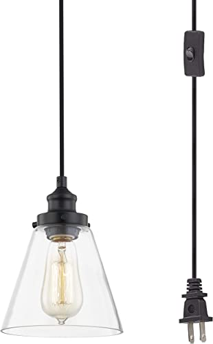 WOXXX Glass Plug In Pendant Light Black Farmhouse Pendant Lighting Plug In For Kitchen Island Living Room Bedroom Industrial Hanging Light Fixture Hanging Lamp With Plug In Cord, In-Line On Off Switch