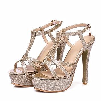 Keilabsatz, Sandalen, Sommer Ausflüge, Schnalle, Fisch Mund, Neigung Ferse, high-heeled Shoes, Sandals, Pink, 42