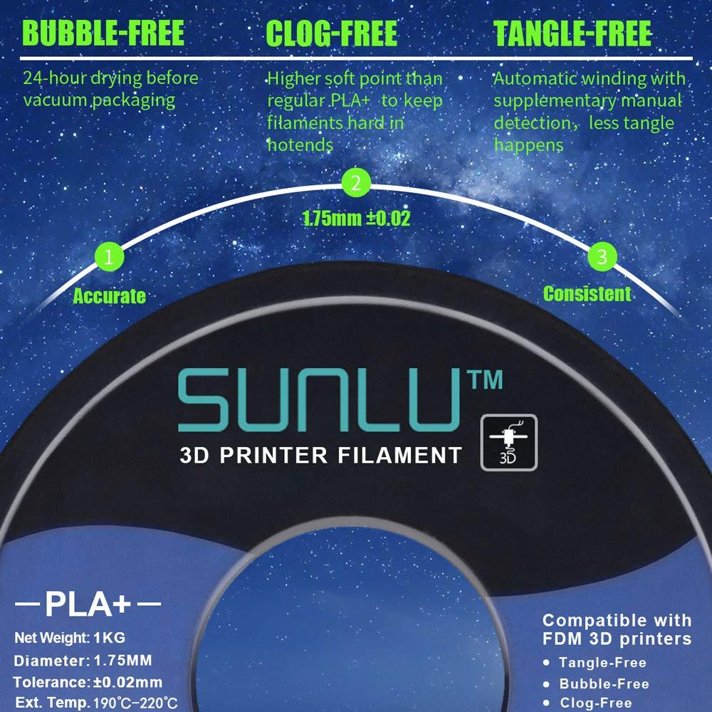 SUNLU PLA Plus 3D Filament 1.75mm for 3D Printer & 3D Pens, 1KG ...