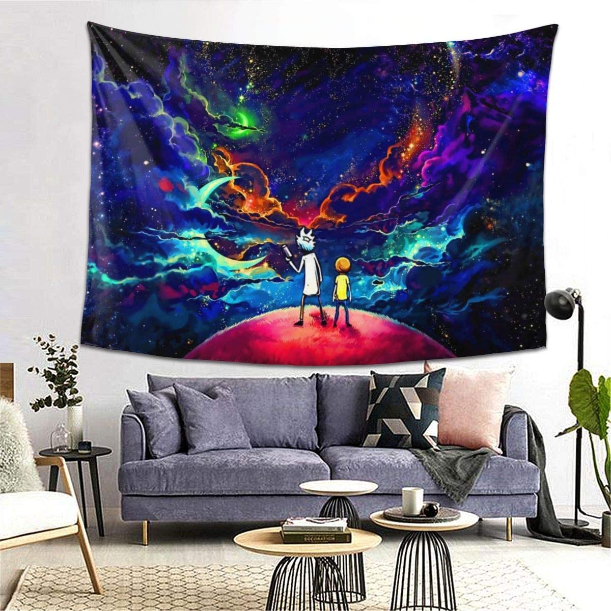 Starry Art Rick Mort Tapestry Wall Hanging Decoration for Home Bedroom Living Room Dorm Party 80×60 Inches