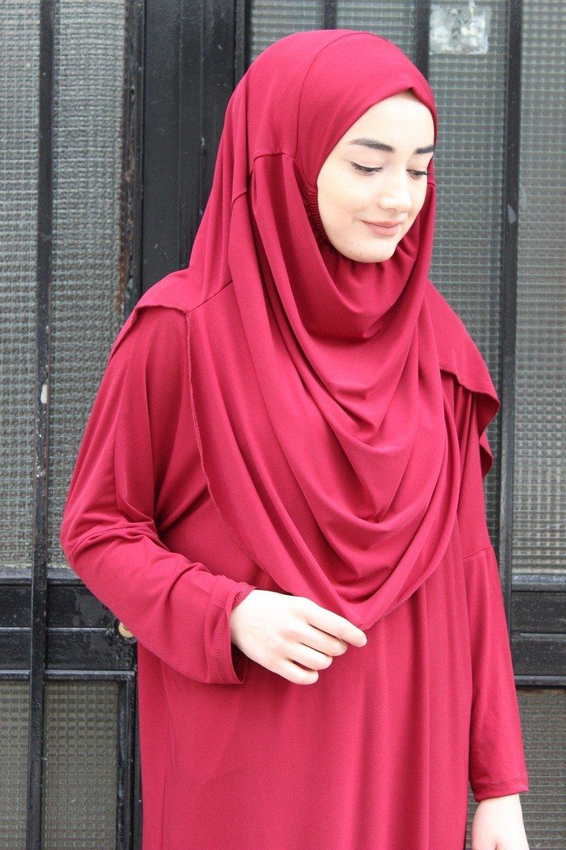 Muslim Women's One-piece Prayer Dress Abaya Ihram Set for Hajj Umrah (BURGUNDY) by OZFBA (Image #3)