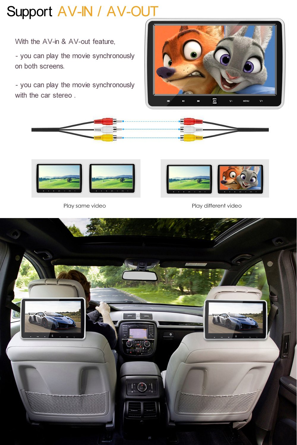 Amazon.com: Alondy 10.1 Inch HD 1024 x 600 HDMI USB SD IR/FM Ultra Thin Digital LCD Screen Car DVD Player Headrest Monitor: Car Electronics