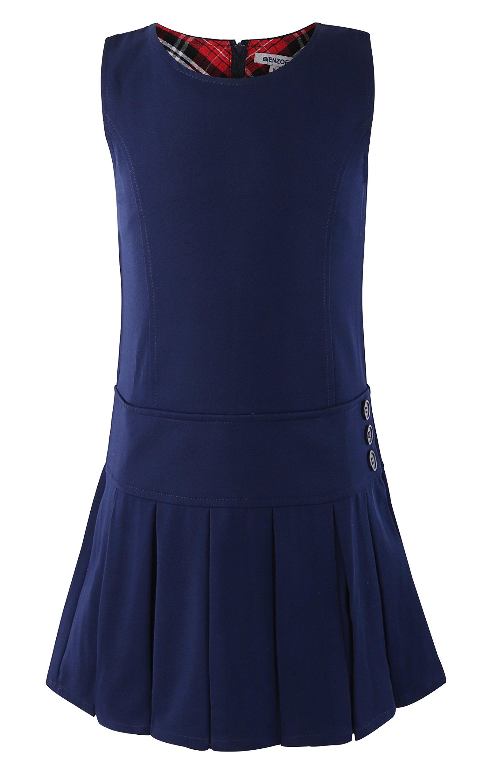 Bienzoe Girl's Stretchy Pleated Durable School Uniforms Jumper Navy 10