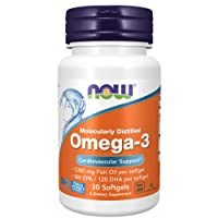 NOW Foods NOW Supplements, Omega-3 180 EPA / 120 DHA, Molecularly Distilled, 30 Softgels