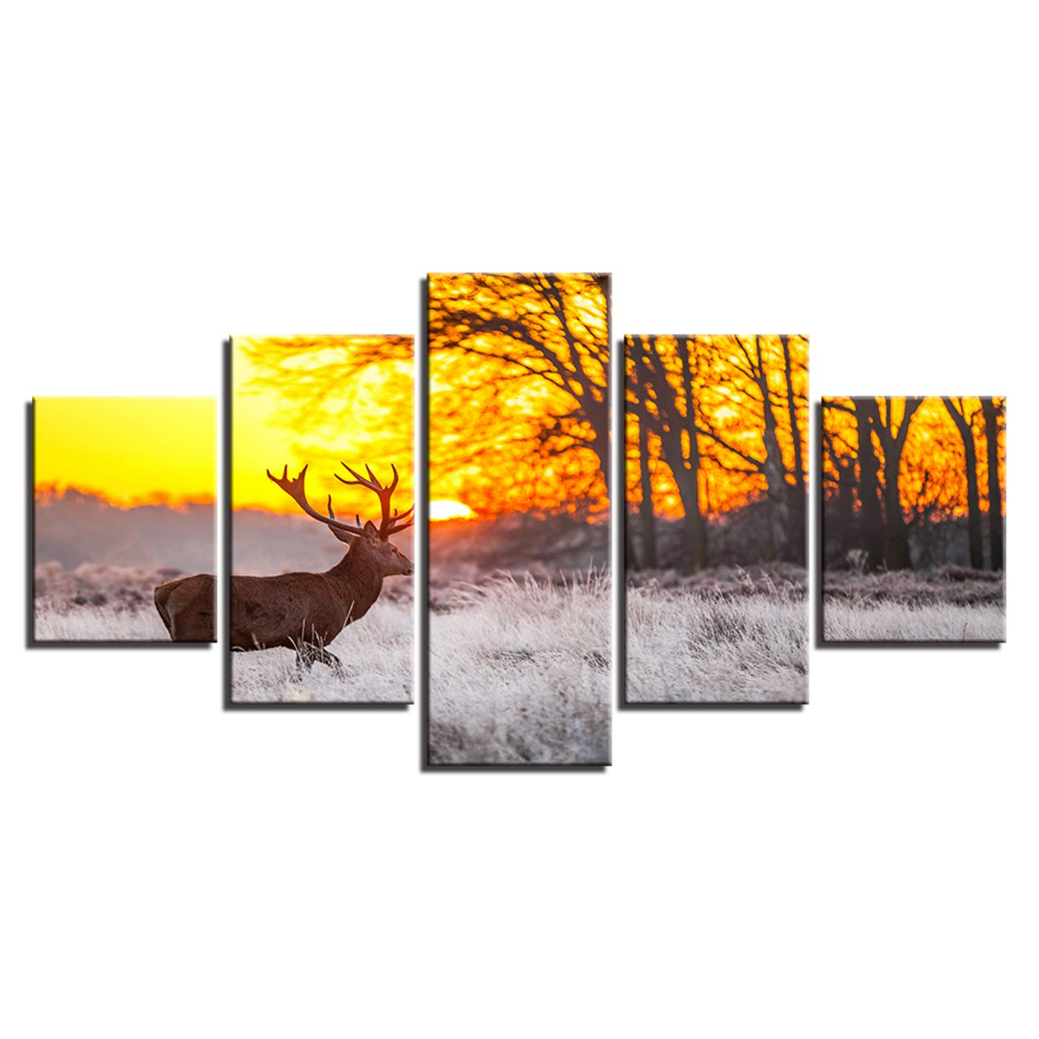 JESC Canvas Home Decor Paintings Wall Art 5 Pieces Winter Sunset Deer Posters Living Room HD Prints Forest Animals Pictures Framework