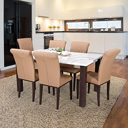 Royaloak Pearl Six Seater Dining Table Set (Yellow)