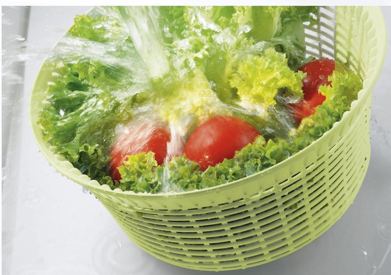 avec manivelle et bec verseur, diam/ètre 24 cm, s/échoir /à salade avec tamis, utilisable aussi comme cl/é pour laitue et passoire Xavax Essoreuse /à salade Transparent//Vert