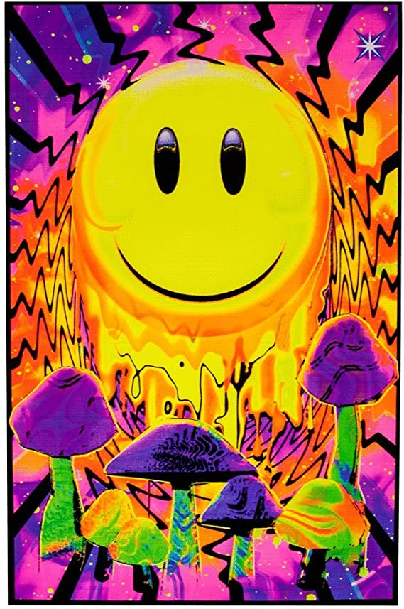 24X36  1980 DON/'T WORRY GET HAPPY  BLACKLIGHT POSTER